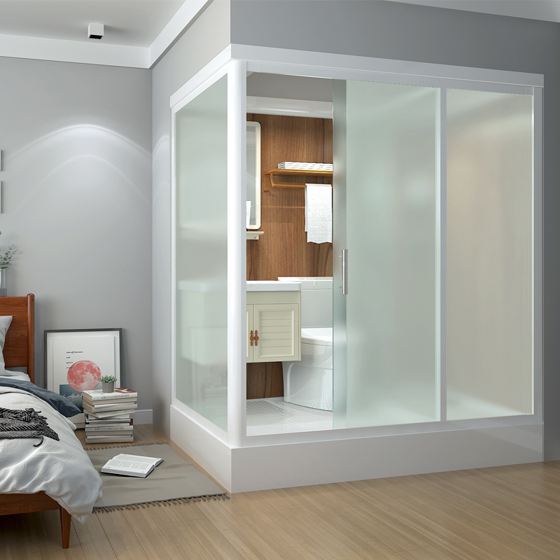 Integral bathroom integrated shower room household rural bathroom dry-wet separation glass partition integrated bathroom