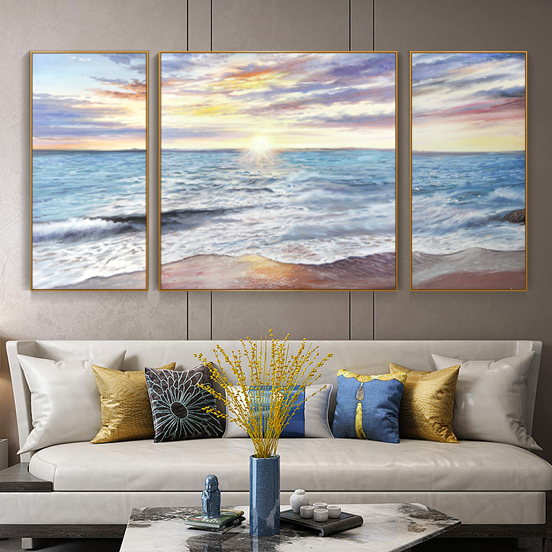 Abstract scenery sunrise Yunhai hand-painted oil painting American triple living room dining room decoration hand-painted background wall hanging
