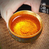 Color gilt gold oil drops build small cup inset silver Kung Fu tea cup host cup day eye glaze single cup kiln change sample tea cup