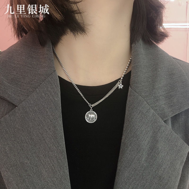 S925 silver retro little elephant trend round brand personalized Necklace women's fashion versatile collarbone Chain Gift non 999 pure silver