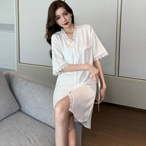 Ice silk thin sleevel women Spring and Autumn summer short sleeves large size fashion silk shirt home clothes 2021 New
