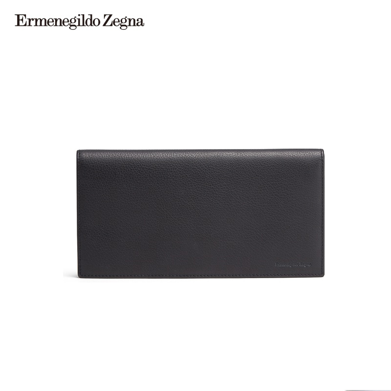 Ermenegildo Zegna Jenia Classic Men's Navy Blue Grained Calf Leather Long Wallet
