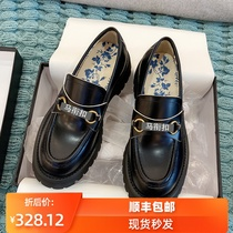 Horse tie buckle thick bottom muffin New increased shoes women ashige with British wind small leather shoes Bee loafers