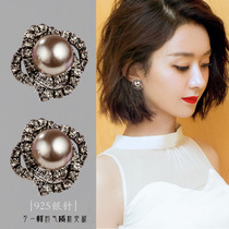 2021 new fashion Korean sterling silver stud earrings womens short pearl temperament simple personality exquisite wild earrings