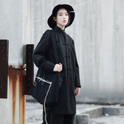 SIMPLE BLACK China female Chinese costume design dark wind in the long sleeved coat winter jacket