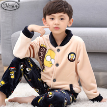 Childrens frankincose boys pajamas autumn winter cartoon boys in the big boy thick coral velvet home clothing set
