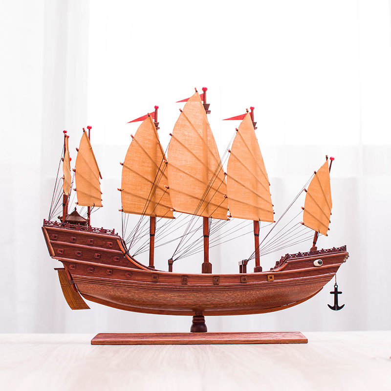 Chinese Decorations: Gifts for Shaoxing Wupeng Boat, Zheng He Bao Boat, Red Boat, Ancient Model Waterside Boat
