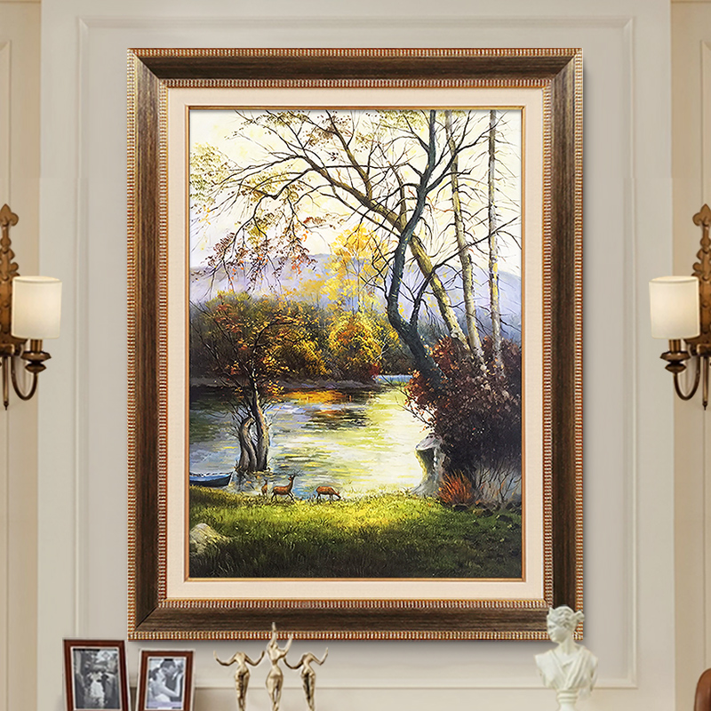 American porch decoration vertical version of European restaurant mural corridor hanging paintings to attract money Fengshui deer hand-painted oil painting