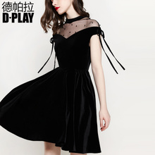 DPLAY Europe and the United States in early spring black mesh stitching sexy hollow hand-beaded velvet little black dress annual meeting dress