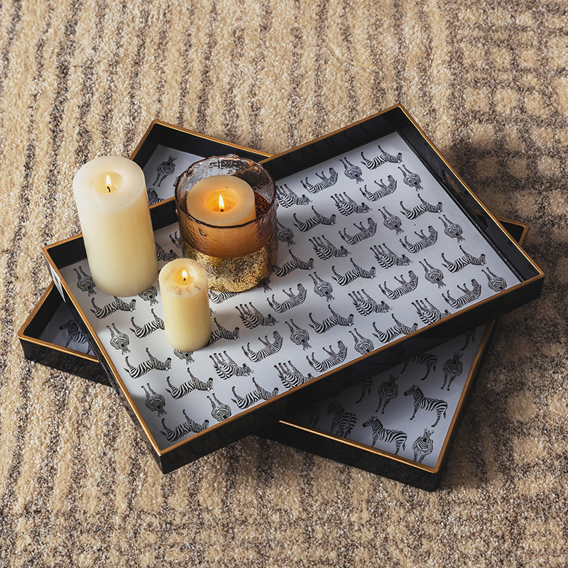 Ins Nordic Decorative Plastic Tea Set Tray Black and White Zebra Rectangular Large Tea Plate Tea Cup Tray