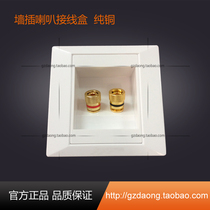 Two-hole speaker panel pure copper gold-plated 2-bit audio audio terminal hidden 86-type wall plug speaker junction box