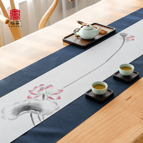Waterproof tea table linen tea cloth tea table flag Chinese Zen cotton linen tea table cloth tea set accessories Chinese style fabric