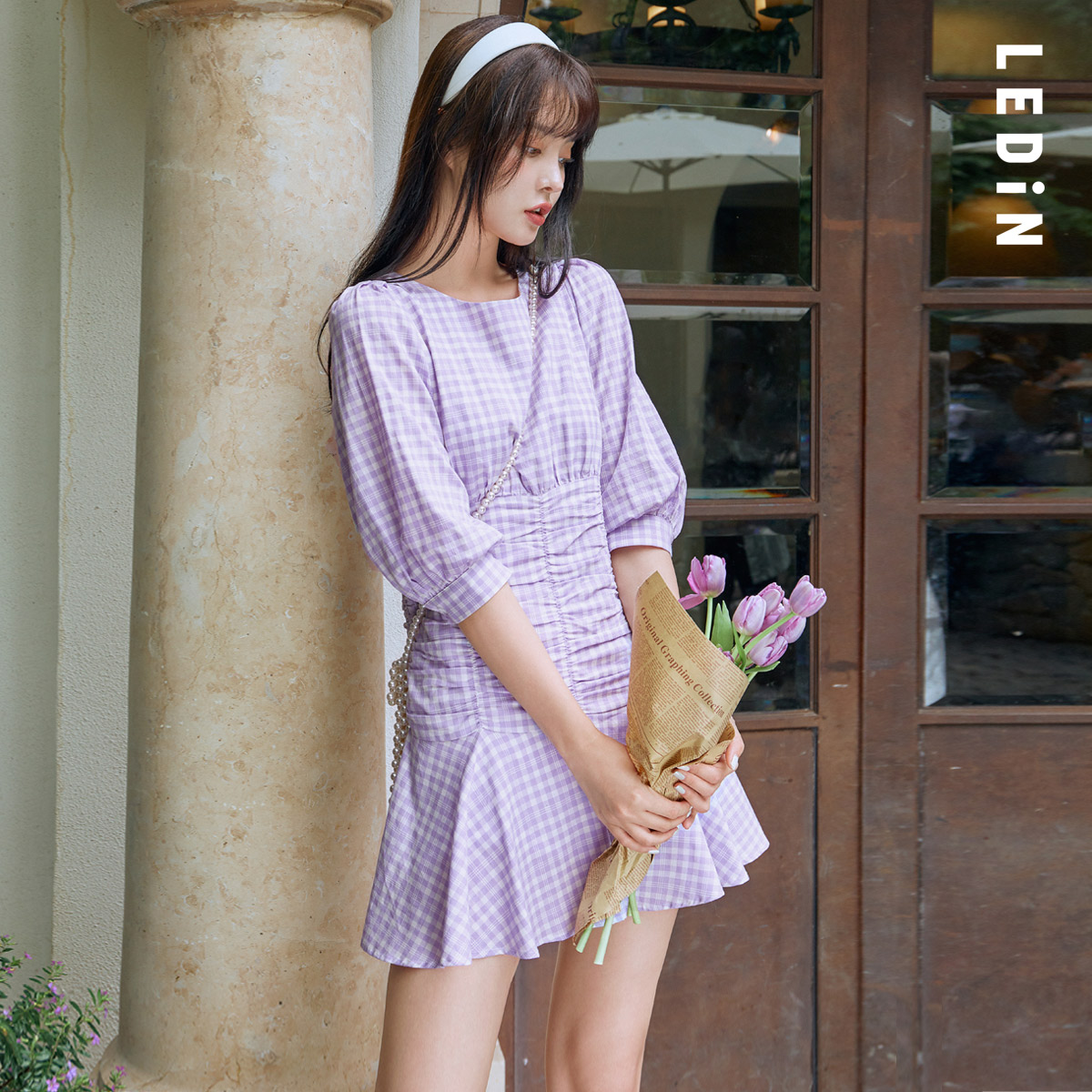 Le Ding Plaid Dress Women 2020 New Fall Women's Sweet Fold Temperament Dress Goddess Fan