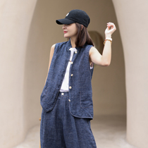 Ma Lin 2021 summer new pure linen yarn-dyed washed denim blue stand-up collar sleeveless personality wild heart jacket
