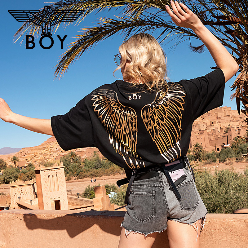 Boy London back gilded wing print T-shirt women's spring 2020 Unisex Fashion short sleeve