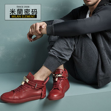Defective preferential Buscemi 100 mm Flat 1007 sp14 - RED shoes strap lock RED leisure men's shoes