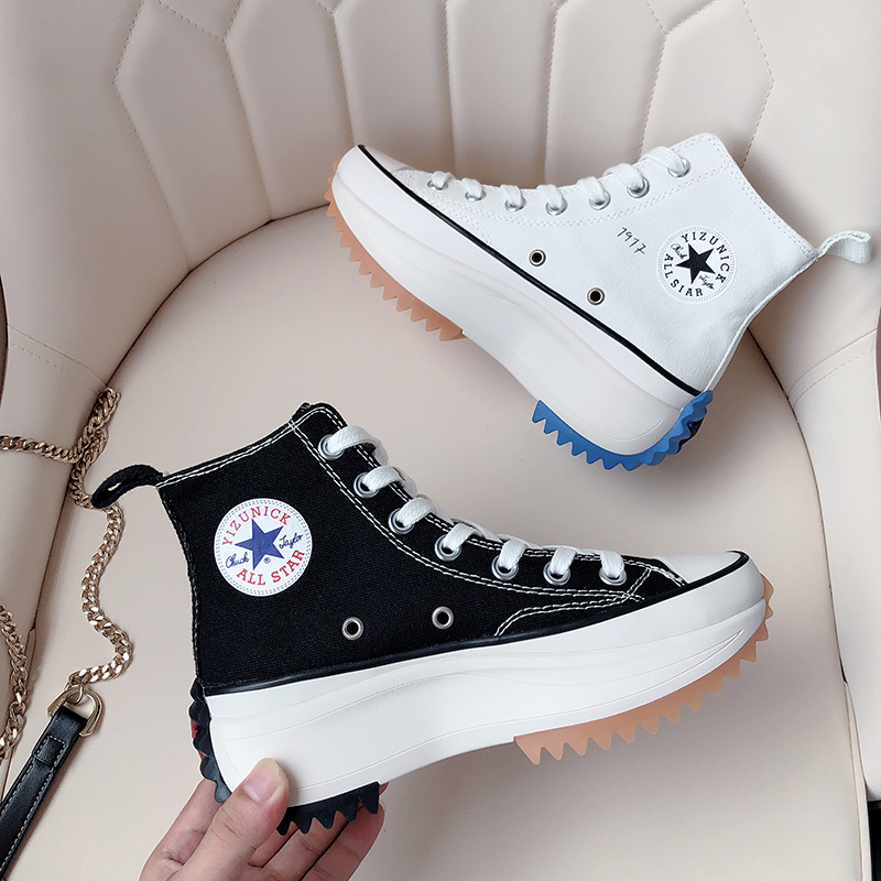 Xiao Zhan's same shoes jw joint plus velvet canvas shoes women's winter high-top sponge cake thick-soled inner increase sports cotton shoes