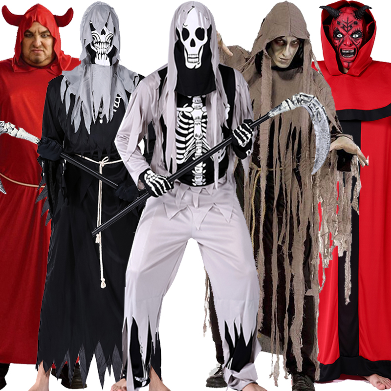 Halloween costume Male adult scythe Cosplay dancing fearful skeleton zombie wizard clothes