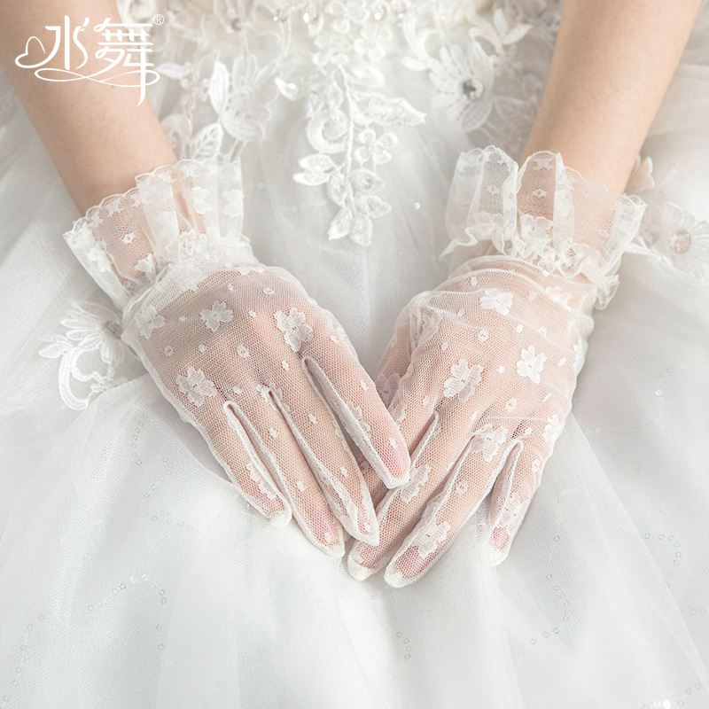 Water dance n0114 bride Korean white lace flower gloves elegant Hepburn wedding knot wedding dress accessories short