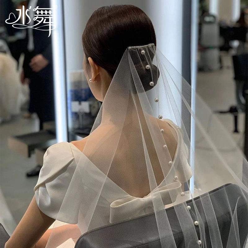 Water dance R0306 Korean style simple pearl bridal veil photography bridal photography wedding veil accessories outdoor photo