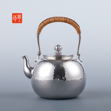 Fine workshop silver pot, pure silver 999 water pot, tea pot, tea ceremony, household tea pot, pure handmade Japanese silver pot