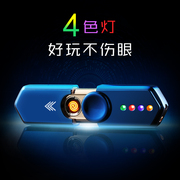 Rotary finger gyro USB rechargeable lighter man ultrathin laser engraving electron sent her personality wind