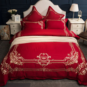 American Cotton wedding bed four pieces of 1.8m bed European style red wedding bedding cotton embroidery