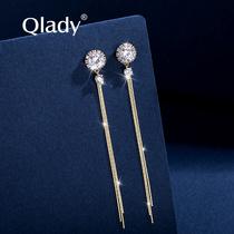 Niche long tassel earrings womens 2021 new fashion summer models sterling silver high-grade sense of ear line earrings earrings drop earrings for women