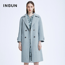 Shadow Enshang new fashion autumn 2020 pure color cotton wool coat double breasted woolen coat women's medium length