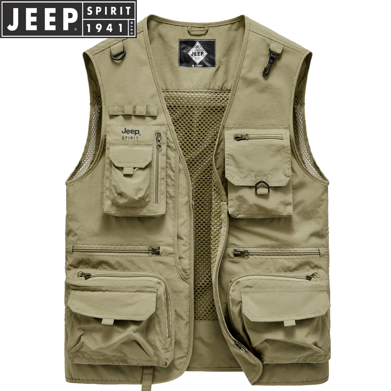 Jeep men's Vest outdoor light and thin photography vest summer leisure Multi Pocket fishing mesh vest