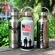 Hanoi Tactical Vacuum Double Layer Thermal Insulation Bottle Outdoor Sports Bottle Stainless Steel Bottle for Men and Women