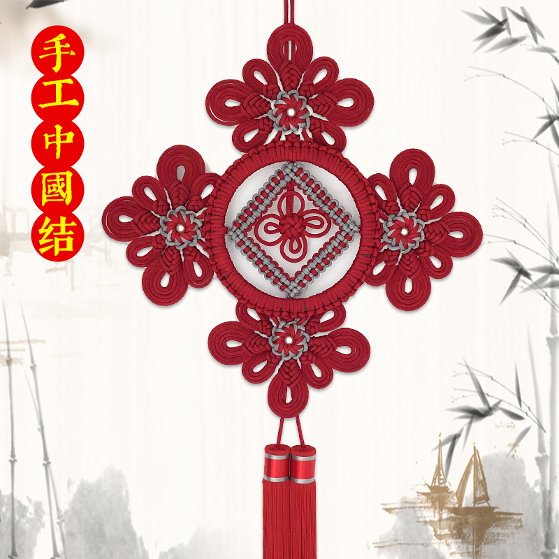 New handmade Chinese knot decoration large red Chinese wind living room TV wall decoration Joe move new home gifts