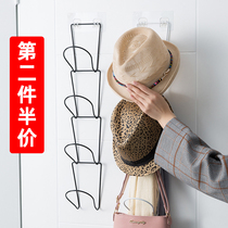 Hat-containing artifacts Hang hat racks behind creative doors託 bags to sort out holes in the shelf bedroom wall