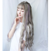 Female hair wig long wavy hair set large corrugated air bangs net red hair, sweet and long curly hair