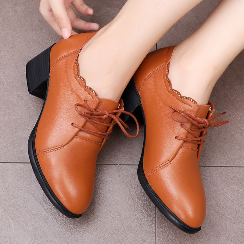 2018 new mother shoes autumn fashion thick with leather shoes with middle-aged women's shoes four seasons shoes wild single shoes