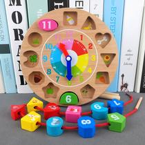Детские часы из бисера строительные блоки мелкая моторика обучение девочка раннего обучения головоломки носить веревку детские игрушки 1-2-3 лет