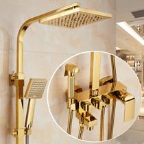 European-style copper thermostat golden shower set bath home bathroom shower nozzle toilet shower