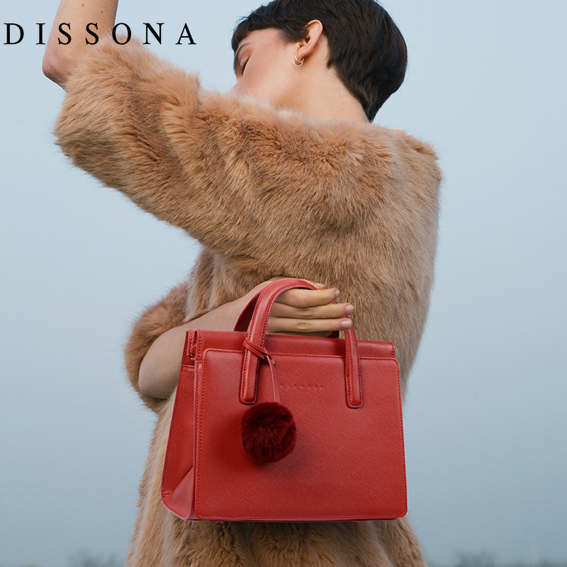 Disanna lady bag leather handbag European and American Vintage bag cowhide one-shoulder bag inclined small bag Dai Fei Bao