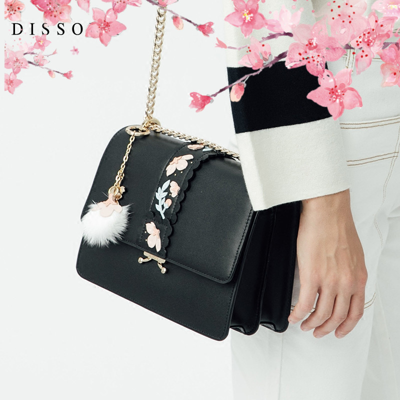 DISSONA Di Sanna handbags leather organ bag Fashion Messenger bag chain small bag shoulder bag small square bag