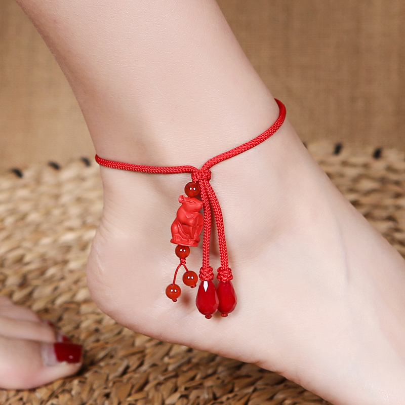 Twelve zodiac zodiac 闢 red rope foot girls life year硃 sand hand-woven adjustment to open the transport of red students