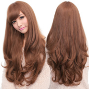 Female wig long curly hair wavy hair bangs Korean Air realistic wig Liu Qi face oblique bangs