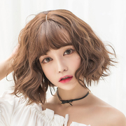 Female hair fluffy wig repair face realistic natural Korean Air Liu Haiduan Bobo head grandma grey hair