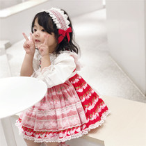 Spring children Spanish style princess dress girl baby Lolita puff dress cute strawberry skirt kids