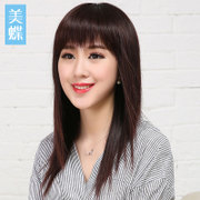 Female wig long straight hair long hair hidden no trace of clavicle hair natural oblique Liu Haijia headgear Ms.