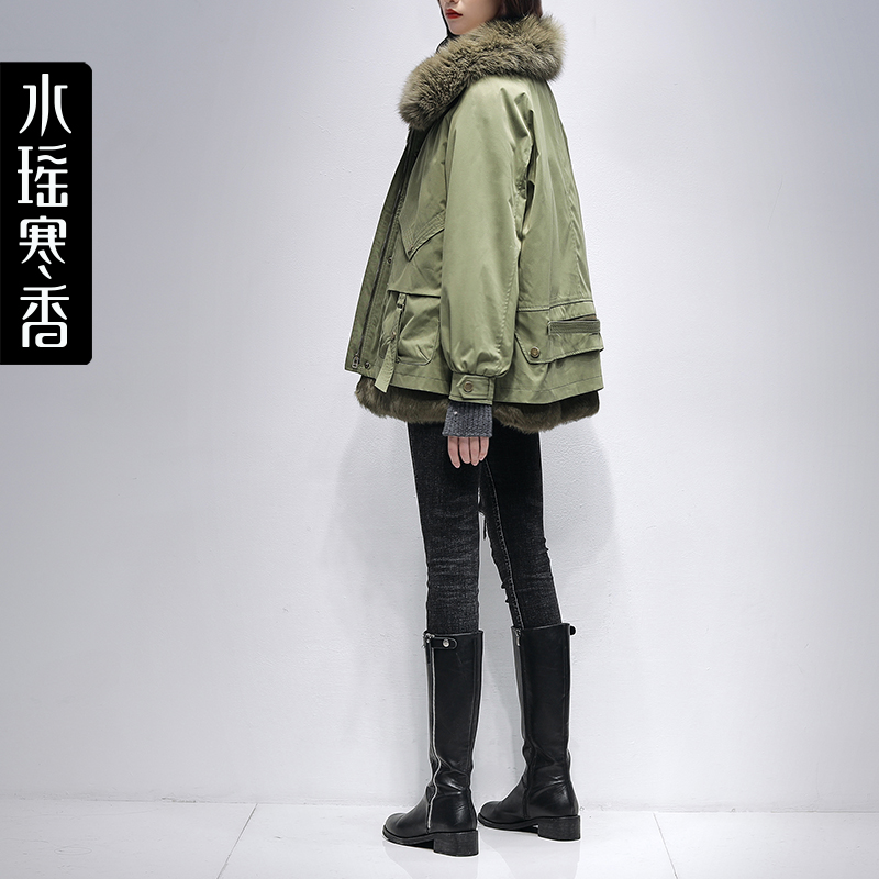 Pai overcomes the womens short 2020 winter new Korean version of loose-fried street fur coat oversized fur collar