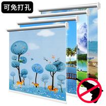 Roller shutter lift shading insulation bedroom bathroom kitchen waterproof balcony curtain free punch bathroom curtain shade