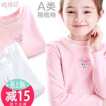 Girls bottoming shirt childrens cotton semi-high collar spring childrens wear round neck long sleeve shirt baby white Western T-shirt