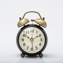 Small metal alarm clock creative students with bedside clocks pendulum silent clocks retro mechanical alarm meters sound too loud