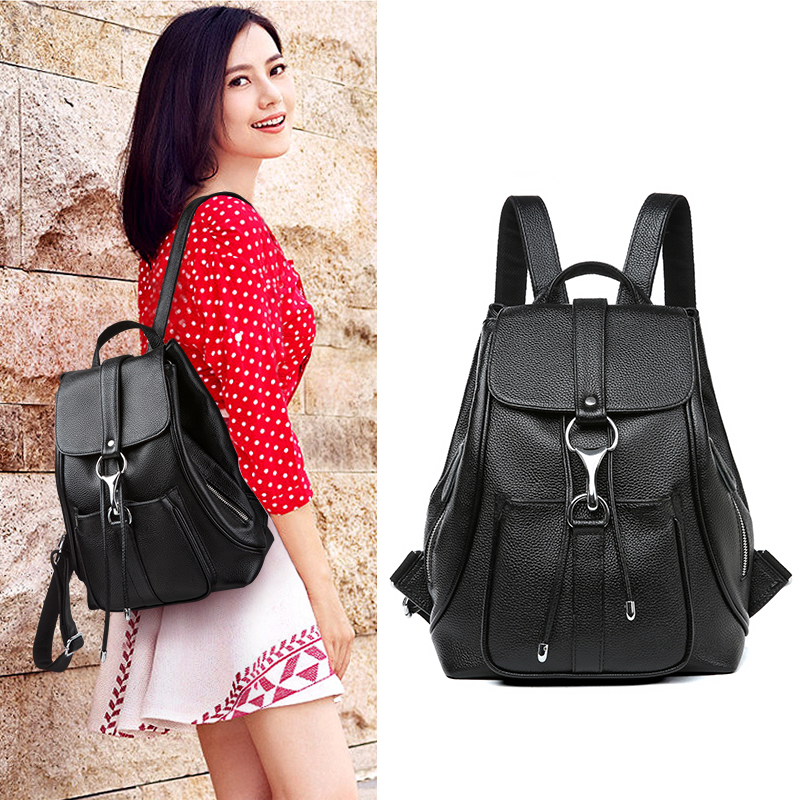 Viney bag female 2018 new leather large capacity simple wild backpack fashion casual Korean version of the backpack
