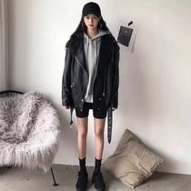 Средняя длина Черная ПУ кожаная куртка женская весна 2020 новый Чик винтаж INS порт модные кожаные куртки